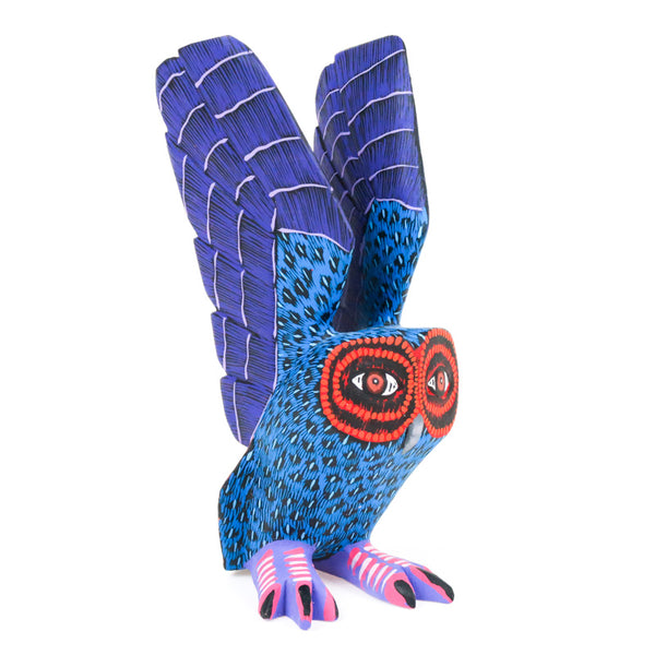 Blue & Purple Owl - Oaxacan Alebrije Wood Carving - VivaMexico.com
