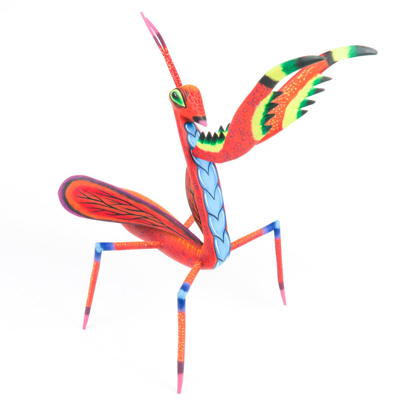 Praying Mantis - Oaxacan Alebrije Wood Carving - Eleazar Morales - VivaMexico.com