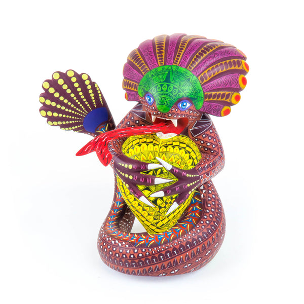 Quetzalcoatl Feathered Serpent - Oaxacan Alebrije Wood Carving