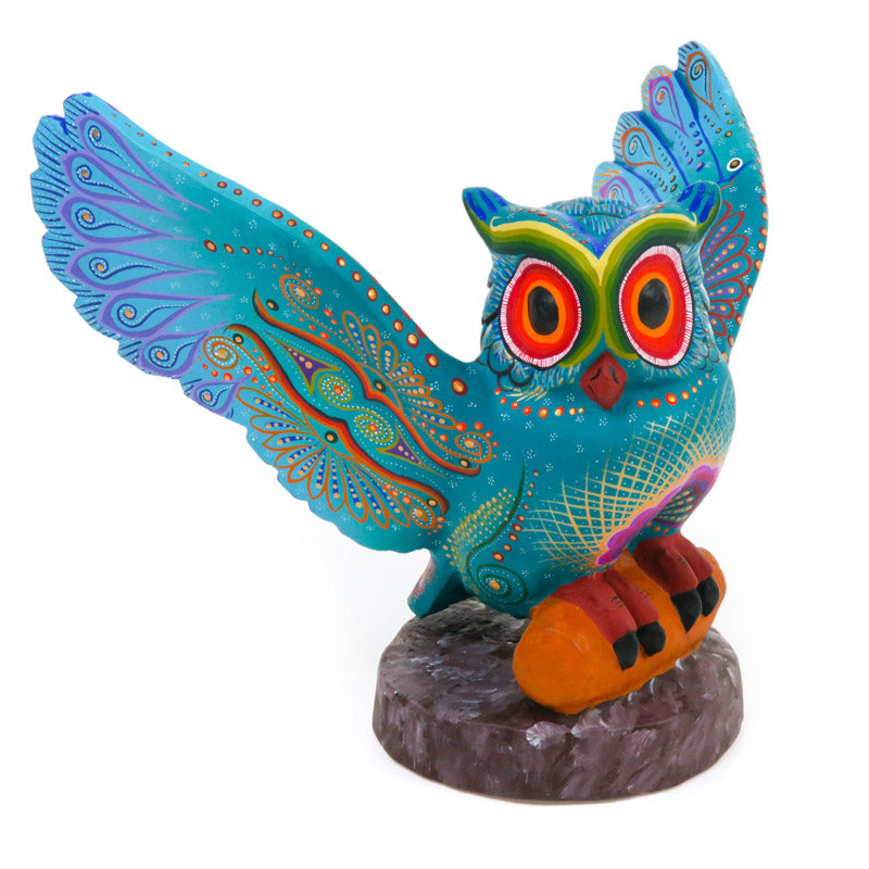 Turquoise Owl - Oaxacan Alebrije Wood Carving
