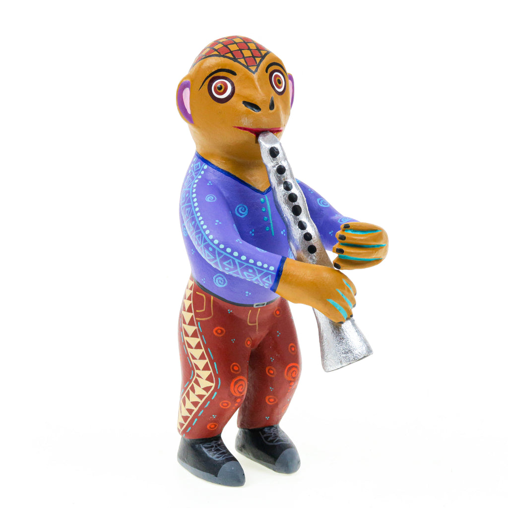 Monkey Clarinet Player - Oaxacan Alebrije Wood Carving