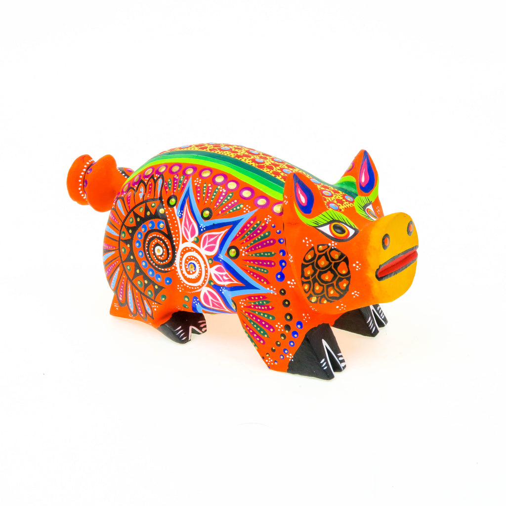 Orange Pig - Oaxacan Alebrije Wood Carving