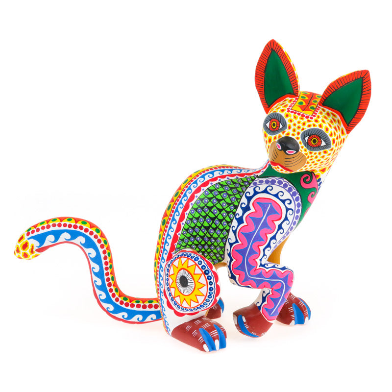 Timid Cat - Oaxacan Alebrije Wood Carving - VivaMexico.com