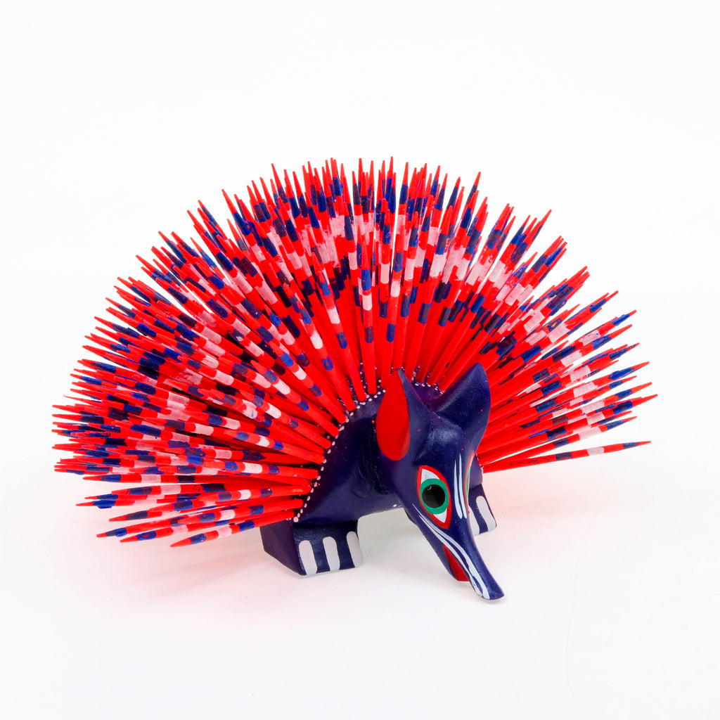 Red & Purple Porcupine - Oaxacan Alebrije Wood Carving