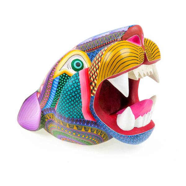 Outstanding Jaguar Head Wall Mount - Oaxacan Alebrije Wood Carving