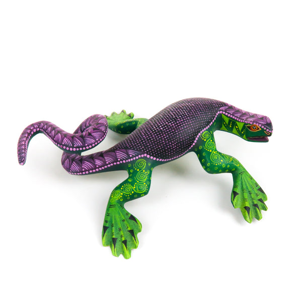 Green & Purple Iguana - Oaxacan Alebrije Wood Carving - Nestor Melchor