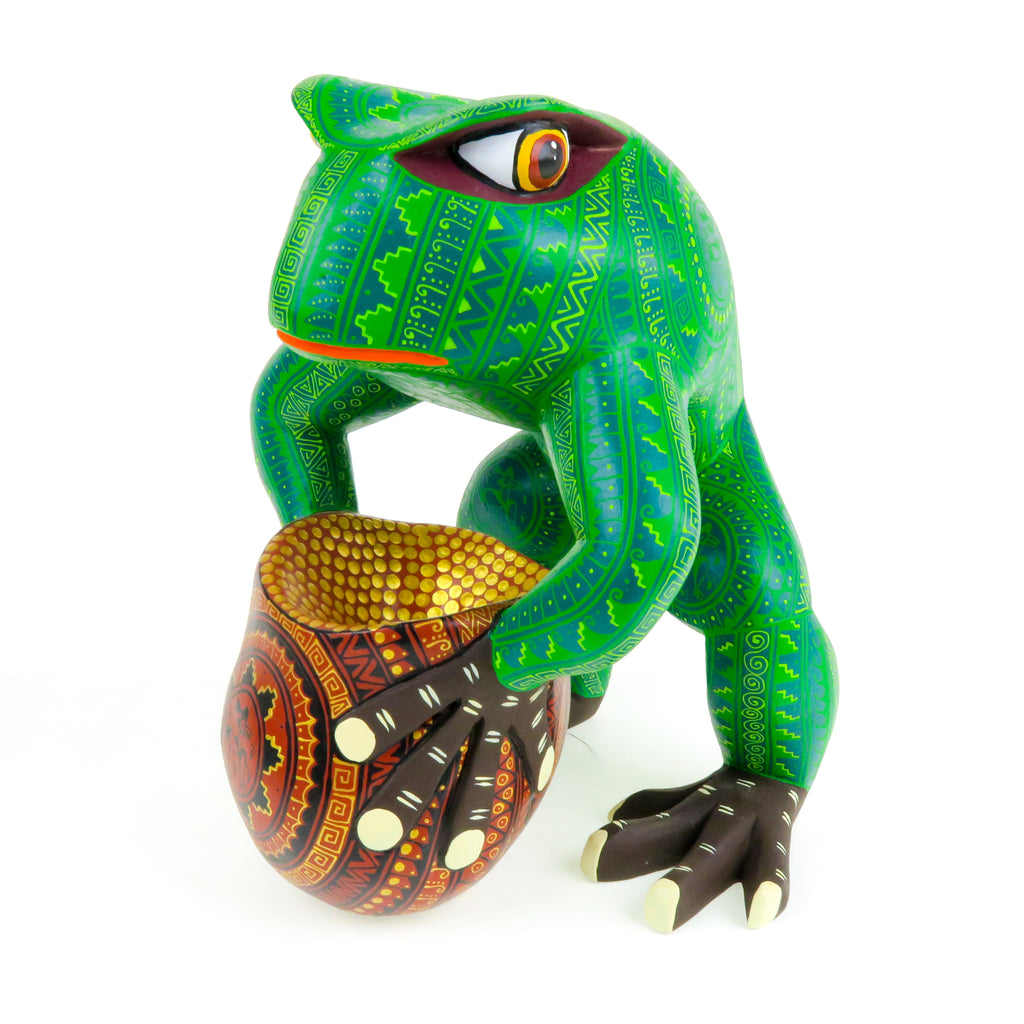 Frog With Jug - Oaxacan Alebrije Wood Carving