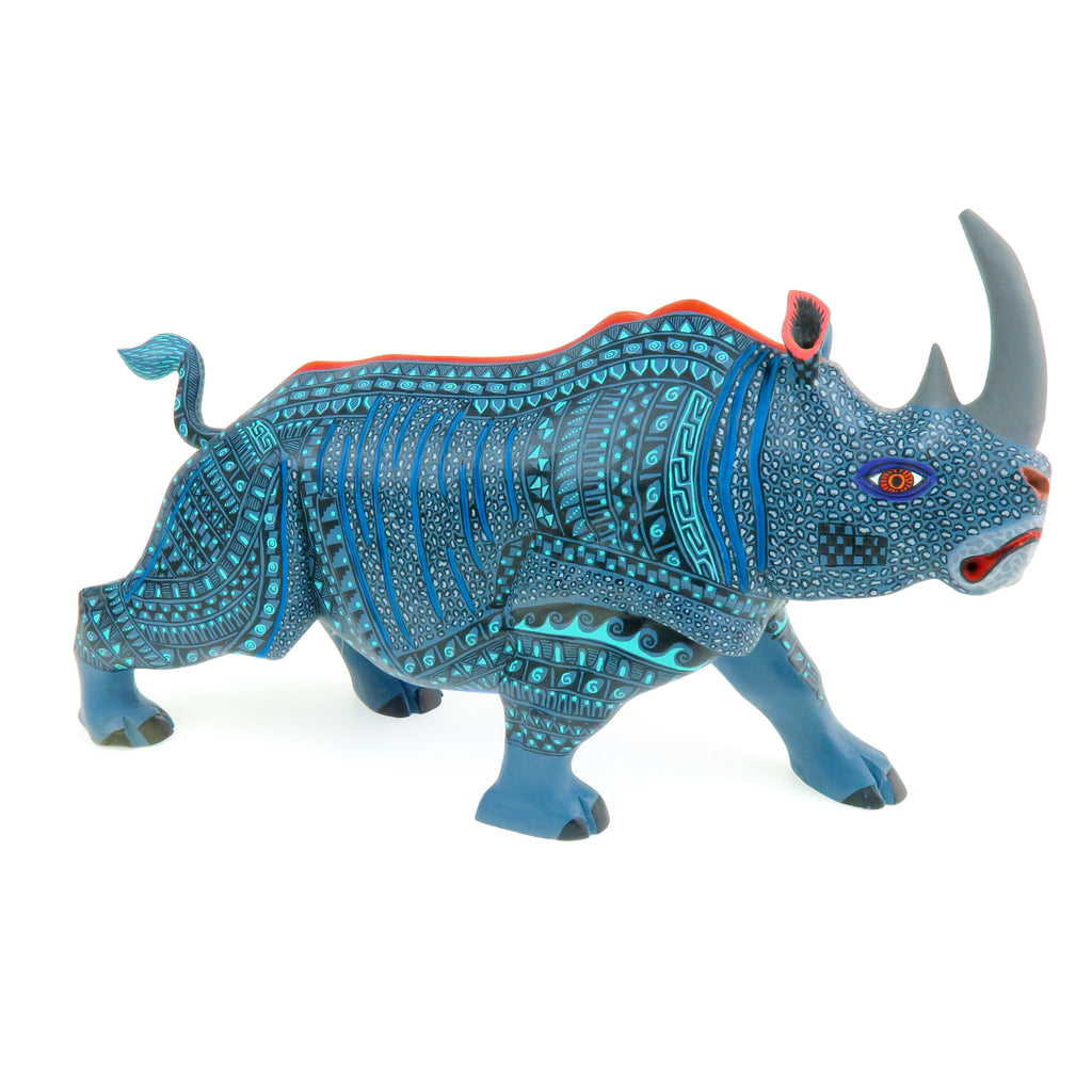 Charging Rhino - Oaxacan Alebrije Wood Carving