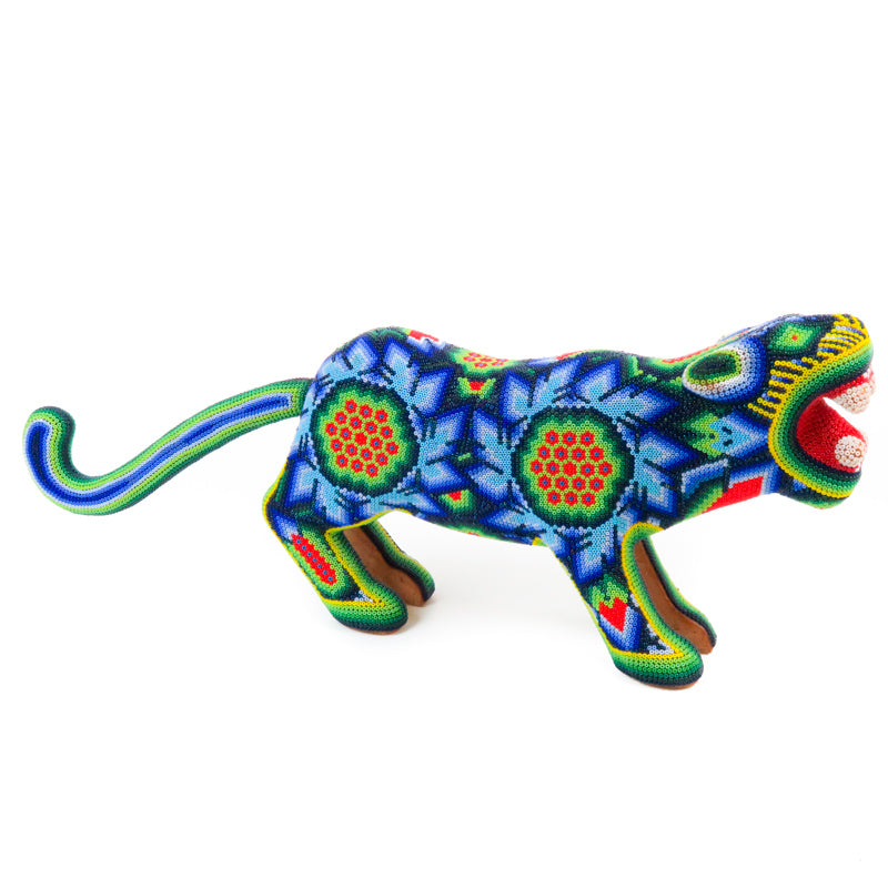 Blue & Green Huichol Beaded Jaguar Wooden Sculpture - VivaMexico.com
