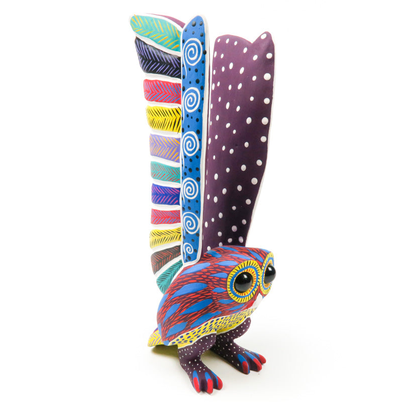 Purple Owl - Oaxacan Alebrije Wood Carving - VivaMexico.com