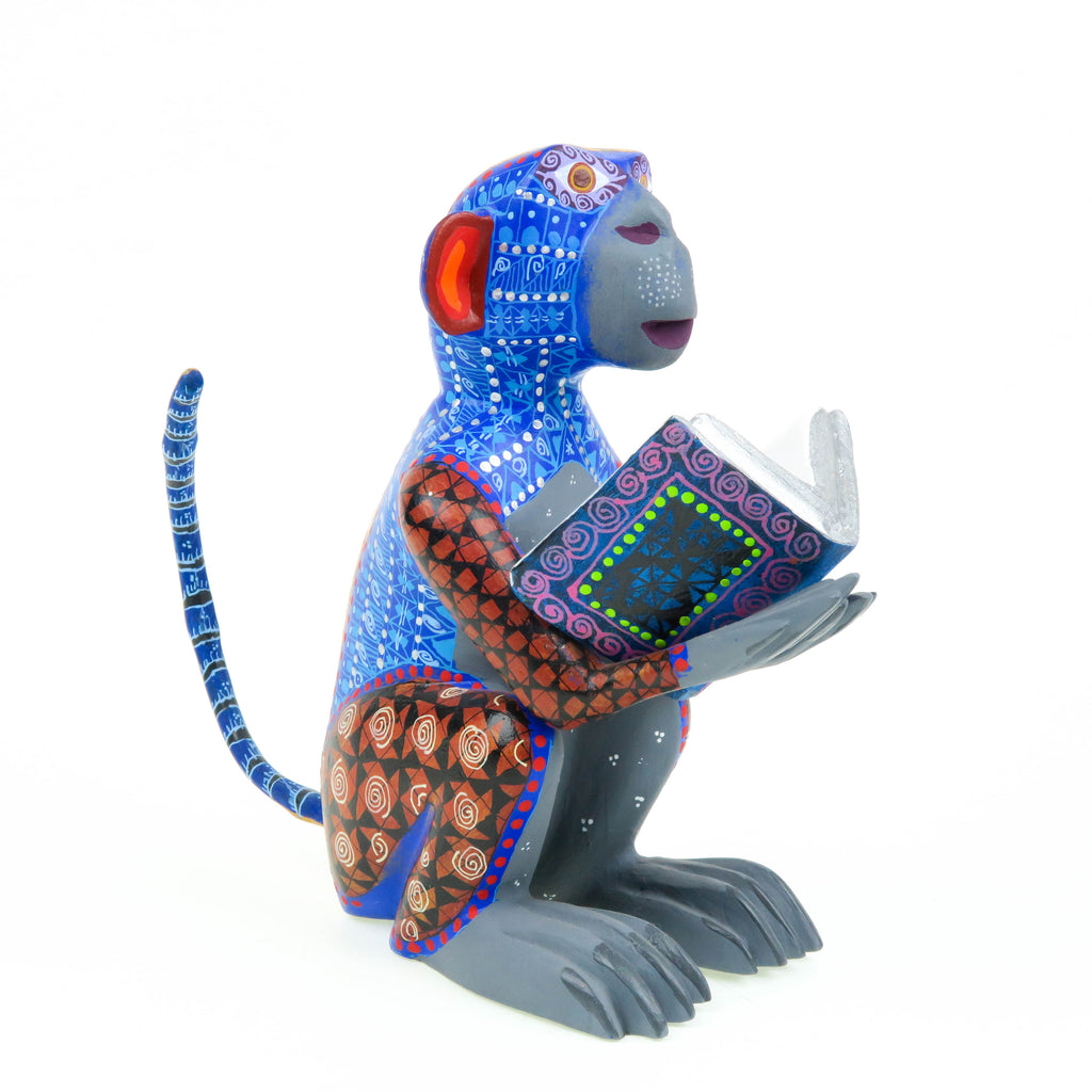 Monkey With Book - Oaxacan Alebrije Wood Carving