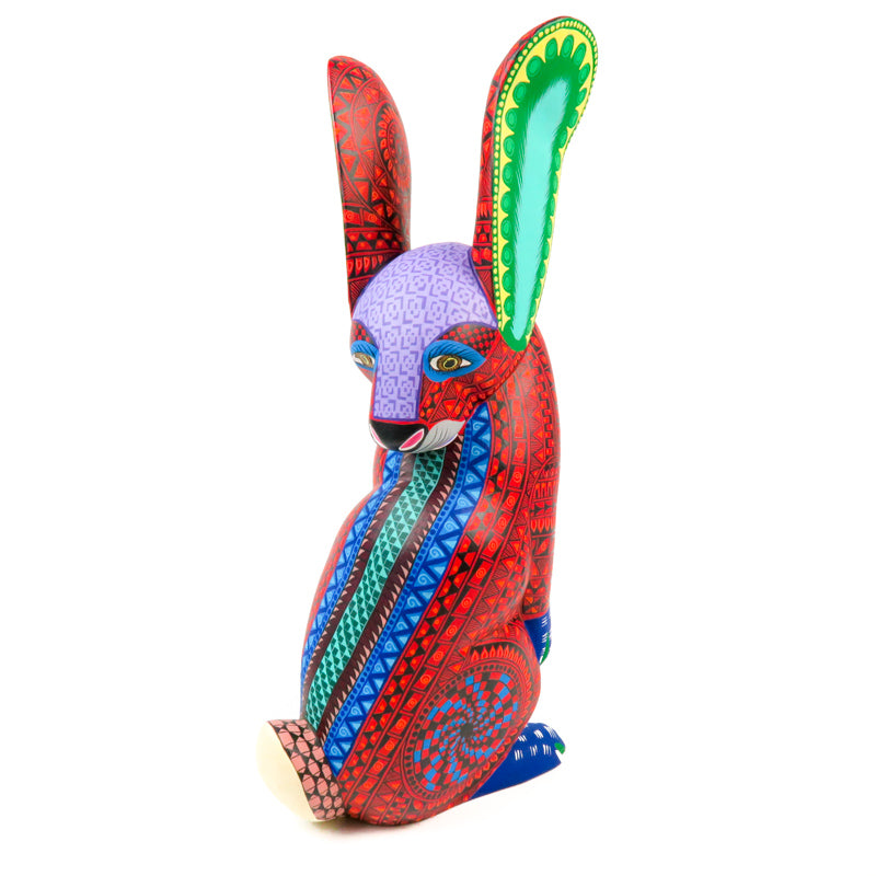 Fantastic Red Rabbit - Oaxacan Alebrije Wood Carving - VivaMexico.com