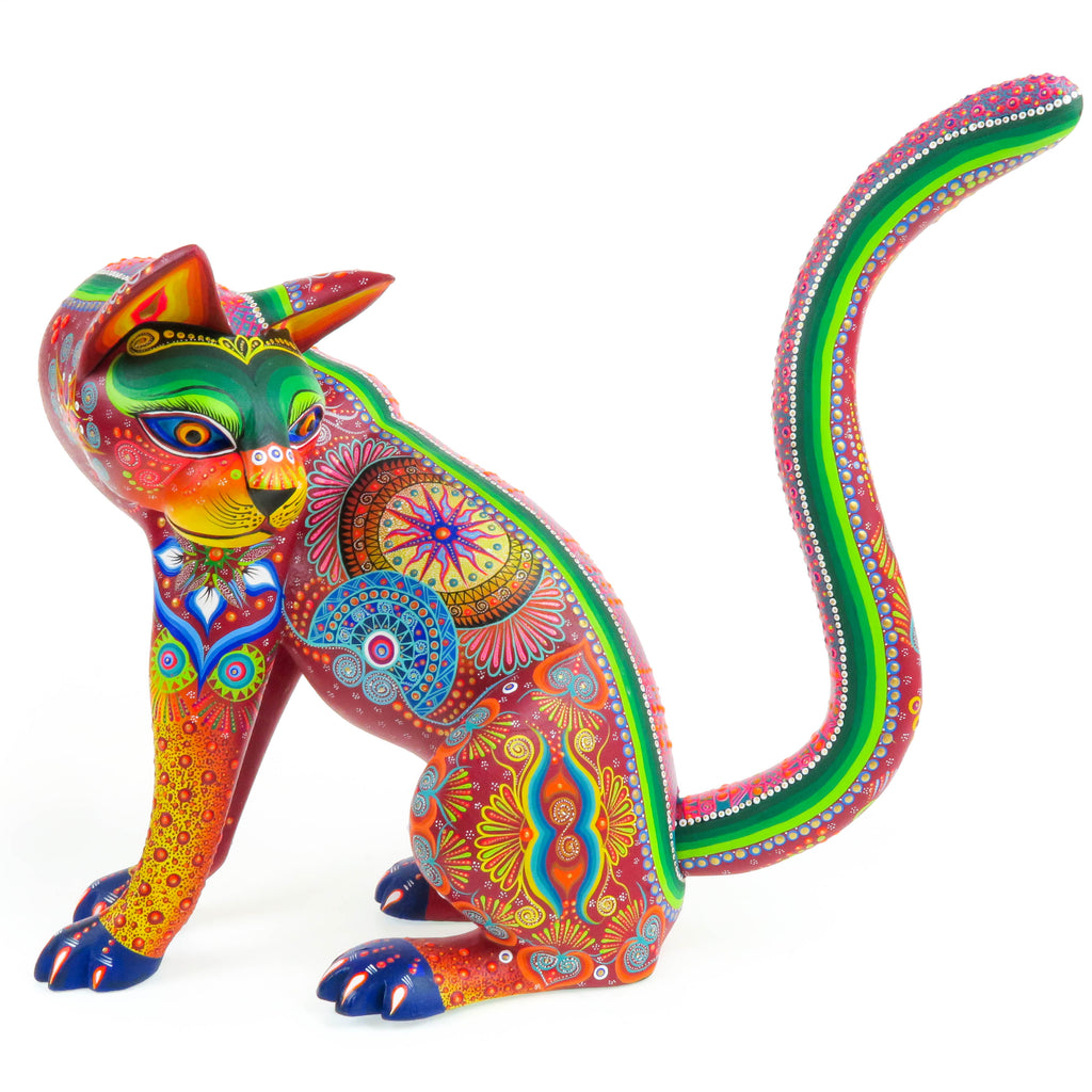 Large Turning Cat - Oaxacan Alebrije Wood Carving