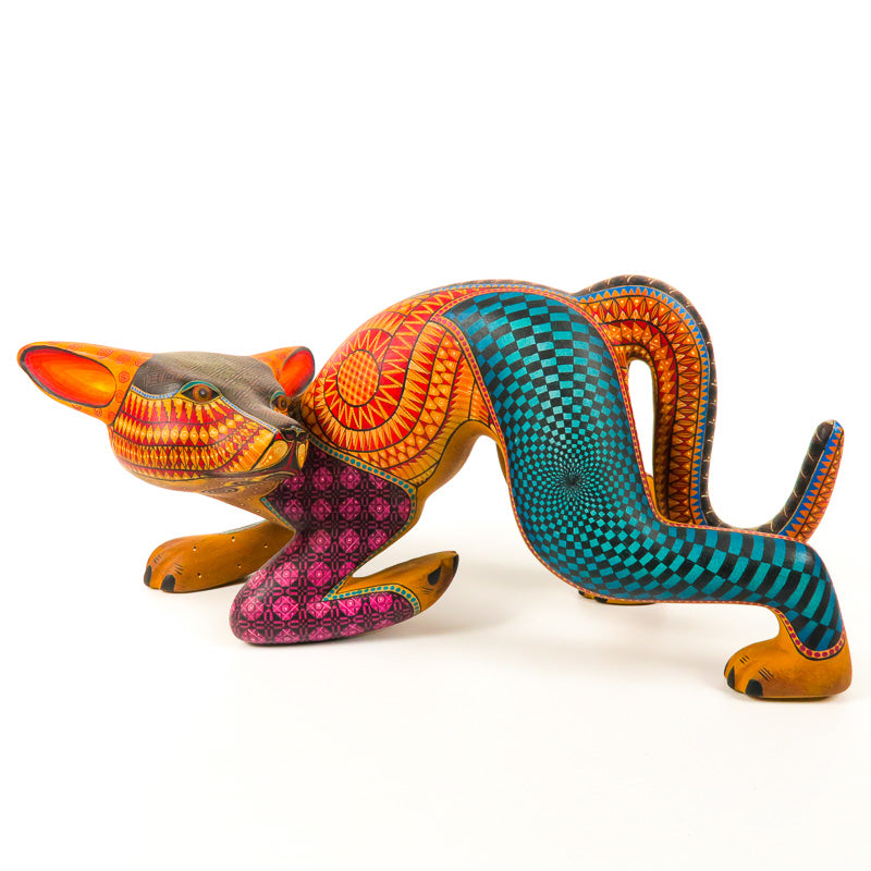 Turning Dog - Oaxacan Alebrije Wood Carving - Nestor Melchor - VivaMexico.com