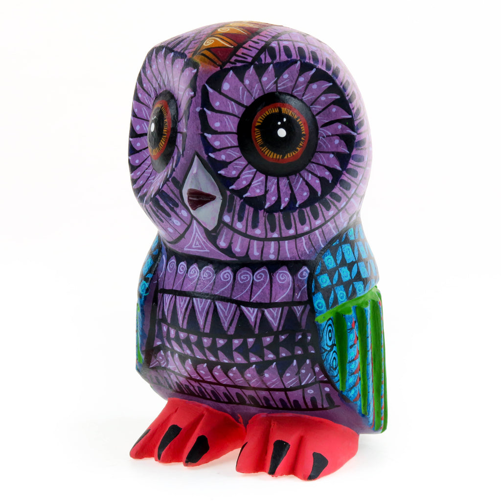 Purple Owl - Oaxacan Alebrije Wood Carving