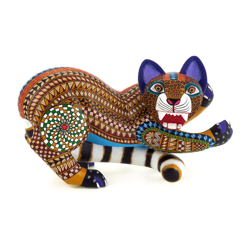 Magnificent Yellow Zapotec Jaguar - Oaxacan Alebrije Wood Carving - VivaMexico.com
