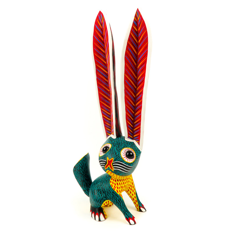 Large Green Rabbit - Oaxacan Alebrije Wood Carving - VivaMexico.com