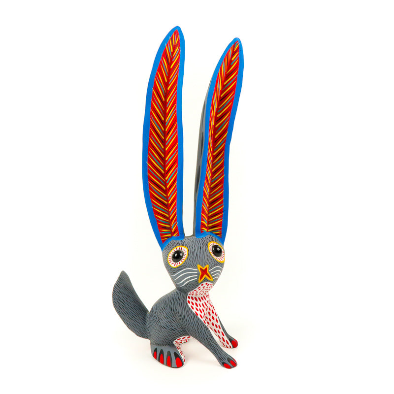 Large Gray Rabbit - Oaxacan Alebrije Wood Carving - VivaMexico.com