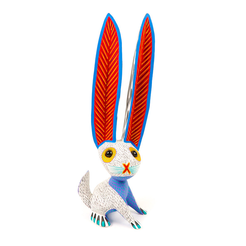Large White Rabbit - Oaxacan Alebrije Wood Carving - VivaMexico.com