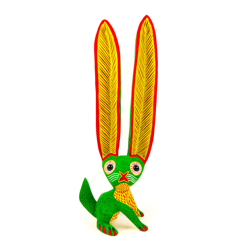Light Green Rabbit - Oaxacan Alebrije Wood Carving - VivaMexico.com