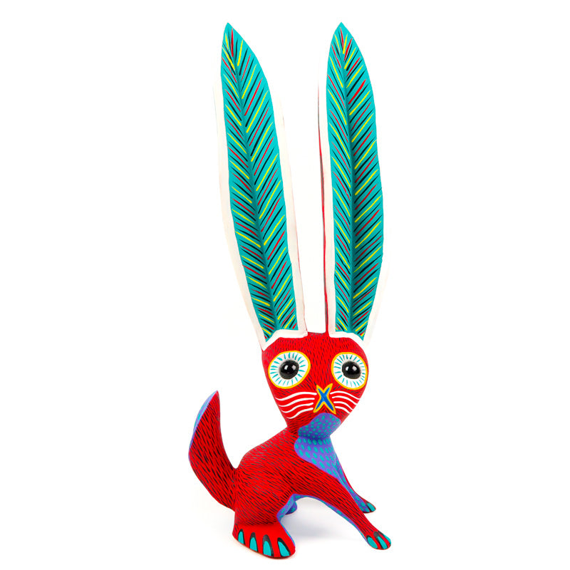 Large Red Rabbit - Oaxacan Alebrije Wood Carving - VivaMexico.com
