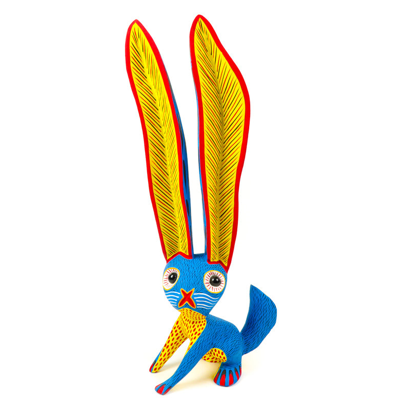 Large Sky Blue Rabbit - Oaxacan Alebrije Wood Carving - VivaMexico.com