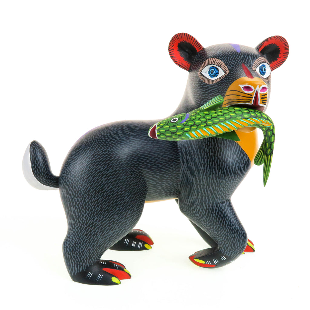 Fantastic Bear With Fish - Oaxacan Alebrije Wood Carving