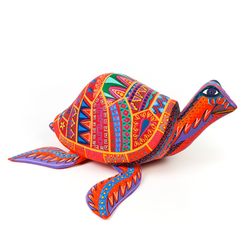 Orange Turtle - Oaxacan Alebrije Wood Carving - VivaMexico.com