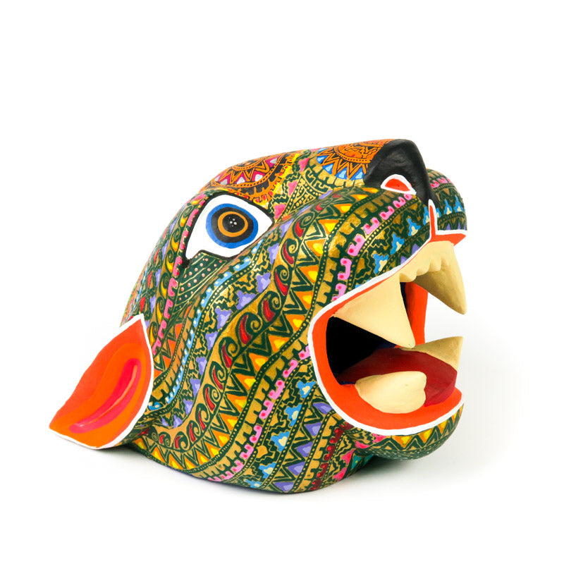 Zapotec Jaguar Head - Oaxacan Alebrije Wood Carving