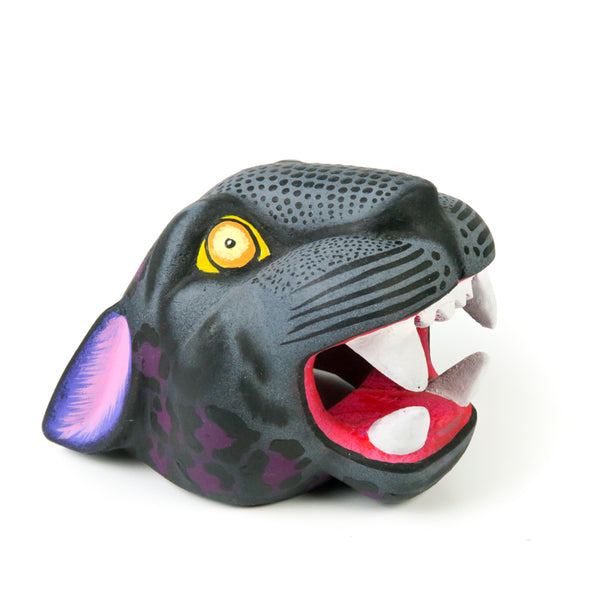 Black Panther Head - Oaxacan Alebrije Wood Carving - VivaMexico.com