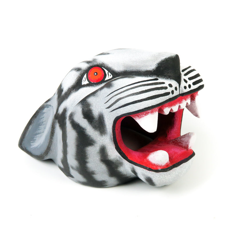 White Jaguar Head - Oaxacan Alebrije Wood Carving - VivaMexico.com