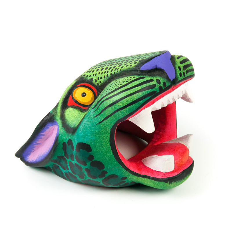 Green Jaguar Head - Oaxacan Alebrije Wood Carving - VivaMexico.com