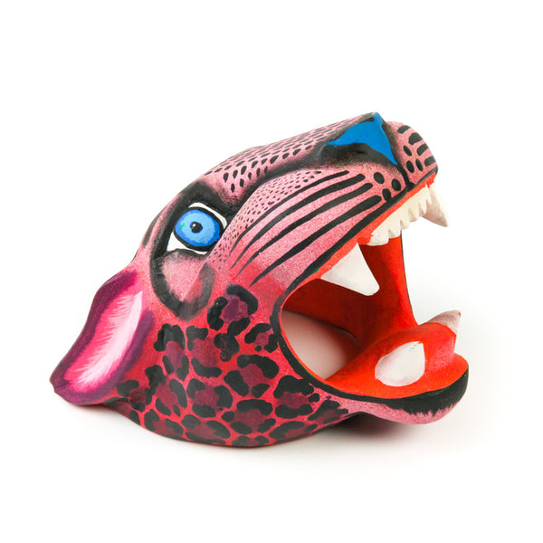 Maroon Jaguar Head - Oaxacan Alebrije Wood Carving