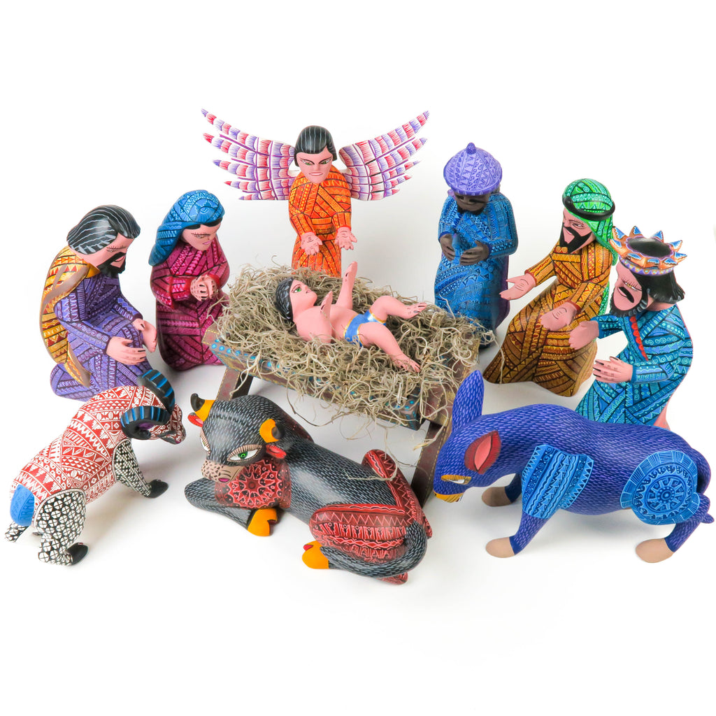 Masterpiece Nativity Scene - Oaxacan Wood Carving - VivaMexico.com