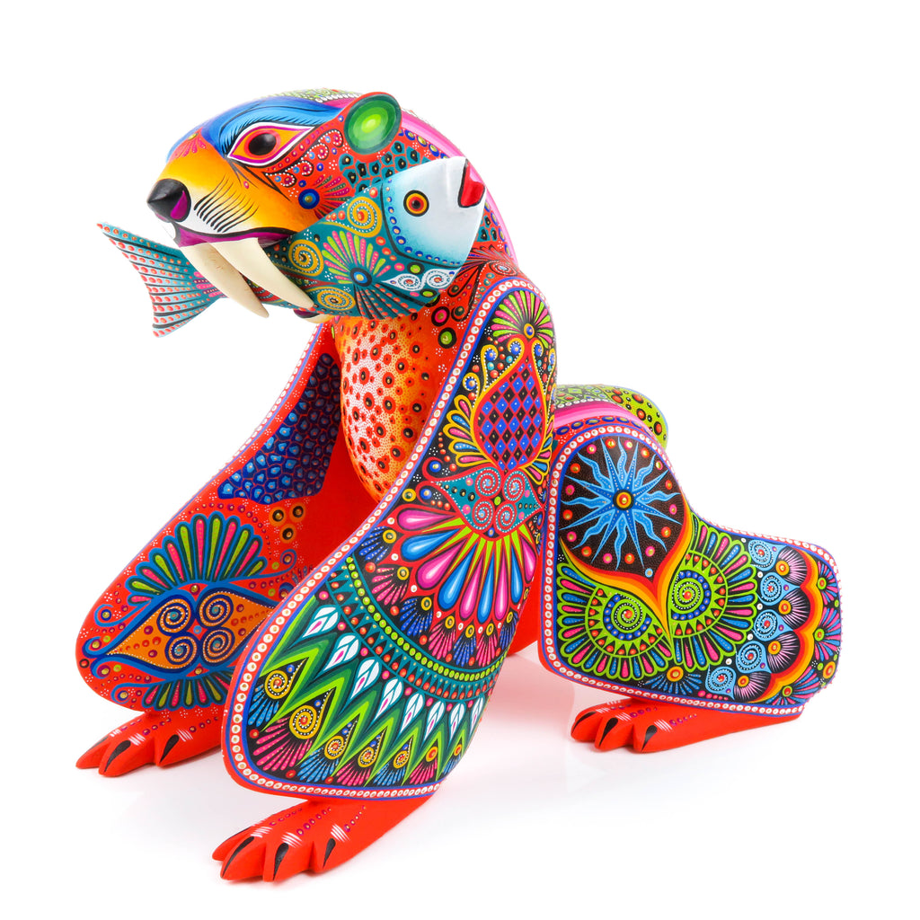 Exceptional Bear With Fish - Oaxacan Alebrije Wood Carving