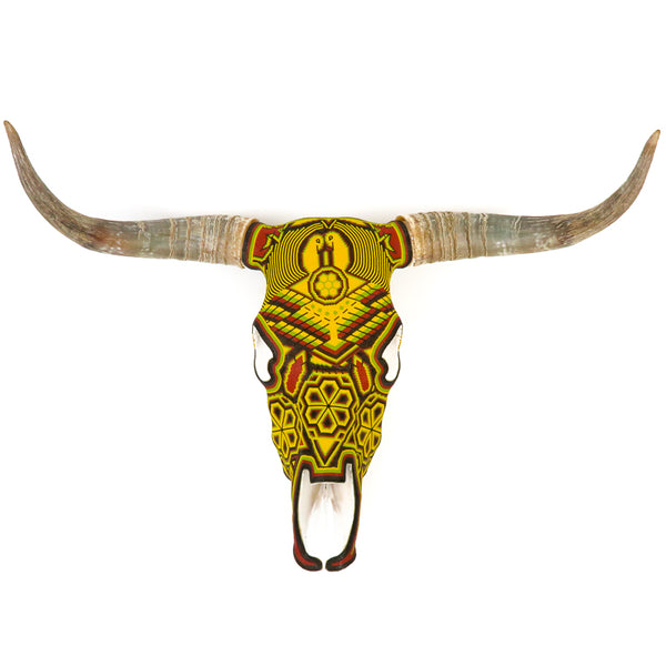 Huichol Beaded Bull Skull Wall Mount Mexican Folk Art (Yellow) - VivaMexico.com