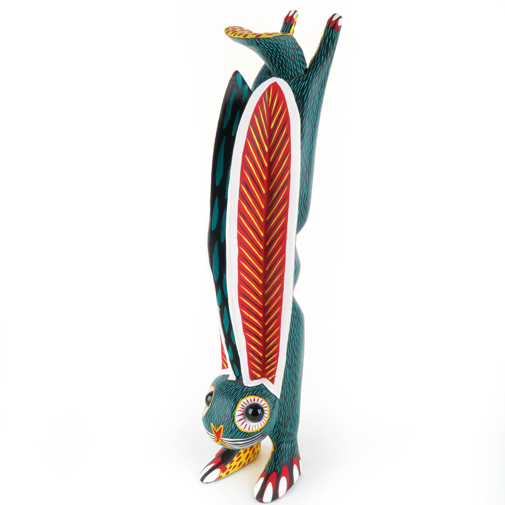 Large Green Handstand Rabbit - Oaxacan Alebrije Wood Carving