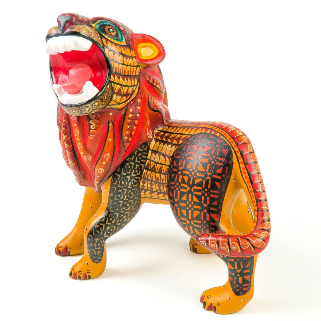 Fierce Lion - Oaxacan Alebrije Wood Carving - VivaMexico.com
