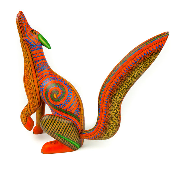 Orange Howling Coyote - Oaxacan Alebrije Wood Carving - Nestor Melchor