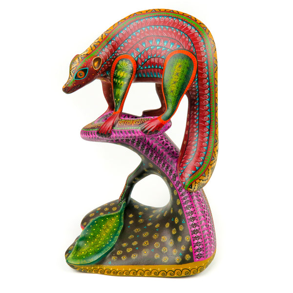 Badger On Tree - Oaxacan Alebrije Wood Carving - Nestor Melchor - VivaMexico.com
