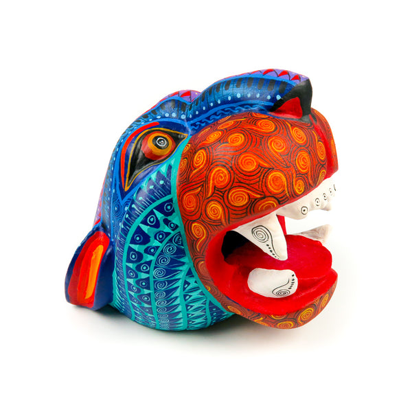 Jaguar Head - Oaxacan Alebrije Wood Carving - Nestor Melchor