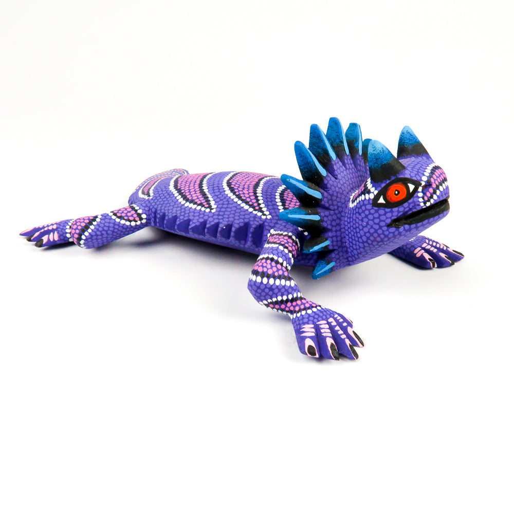Purple Horned Lizard - Oaxacan Alebrije Wood Carving - VivaMexico.com