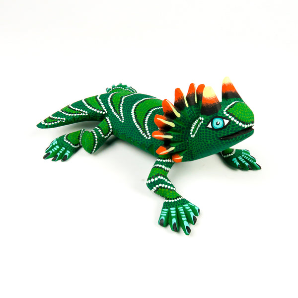 Green Horned Lizard - Oaxacan Alebrije Wood Carving