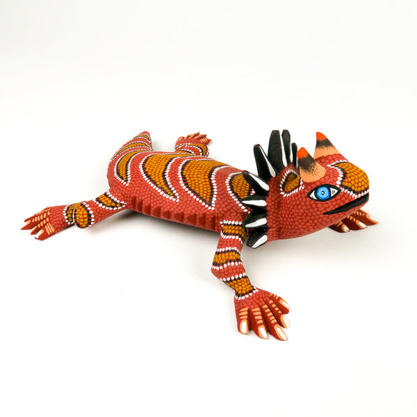 Orange Horned Lizard - Oaxacan Alebrije Wood Carving