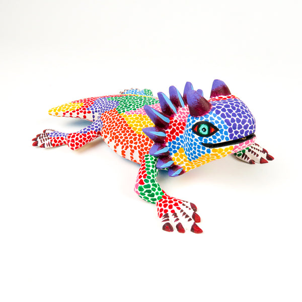 Colorful Horned Lizard - Oaxacan Alebrije Wood Carving - VivaMexico.com