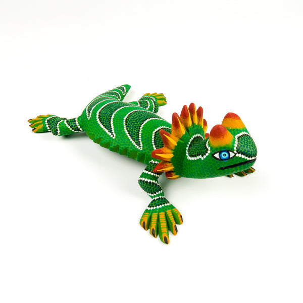 Vibrant Green Horned Lizard - Oaxacan Alebrije Wood Carving