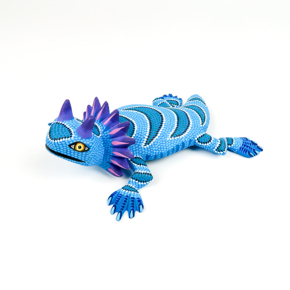 Sky Blue Horned Lizard - Oaxacan Alebrije Wood Carving