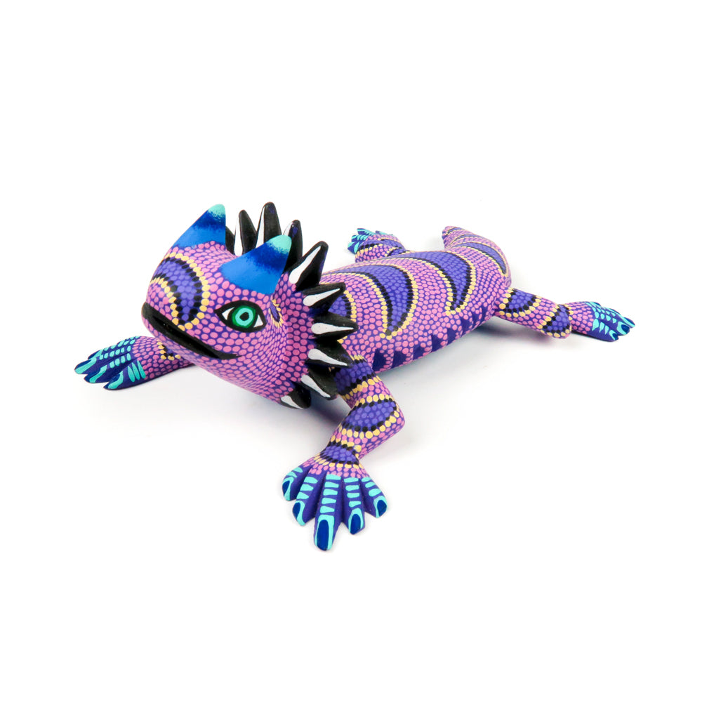 Vibrant Purple Horned Lizard - Oaxacan Alebrije Wood Carving - VivaMexico.com