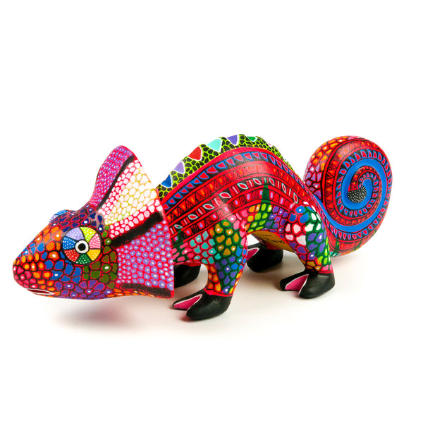 Red Chameleon - Oaxacan Alebrije Wood Carving