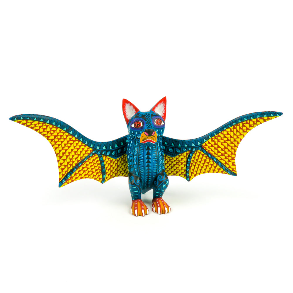 Whimsical Bat - Oaxacan Alebrije Wood Carving - VivaMexico.com